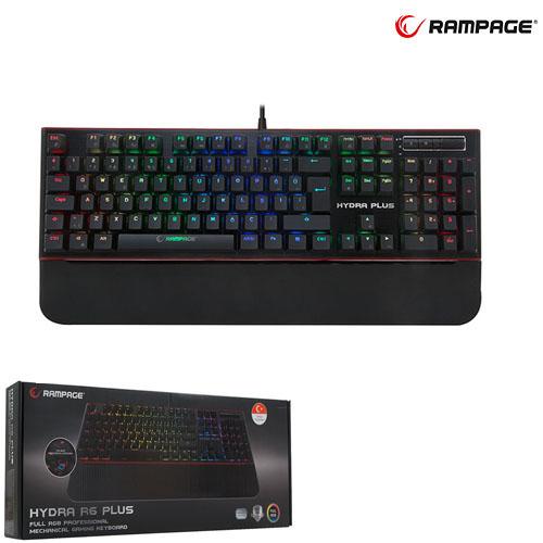RAMPAGE Hydra R6 Plus Q Usb Alüminyum Kaplama Mavi Switch Full RGB Gaming Mekanik Klavye