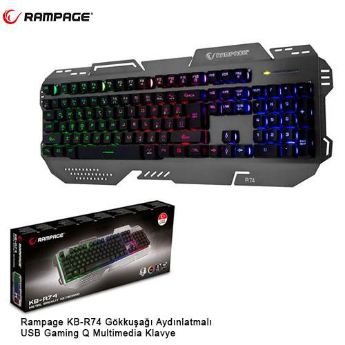 RAMPAGE KB-R74 Q Usb Gökkuşağı Aydınlatmalı Multimedya Gaming Klavye