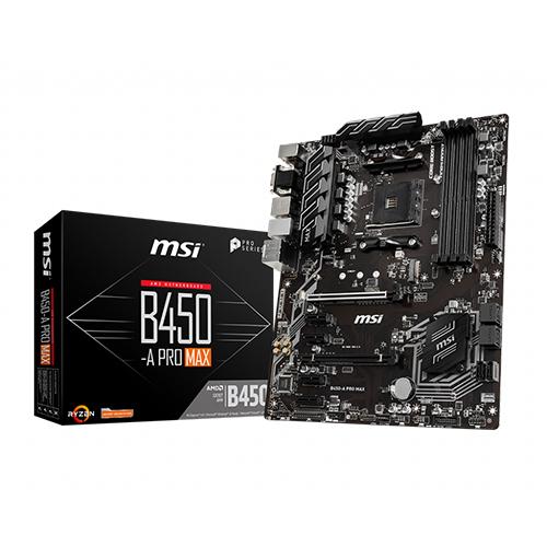MSI AMD B450-A PRO MAX B450 DDR4 4133(OC) DVI VGA HDMI GLAN AM4 M.2 USB 3.2 Gen1, Gen2