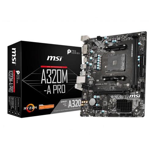 MSI AMD A320M-A PRO A320M DDR4 3200(OC) DVI HDMI GLAN AM4 USB3.2 mATX