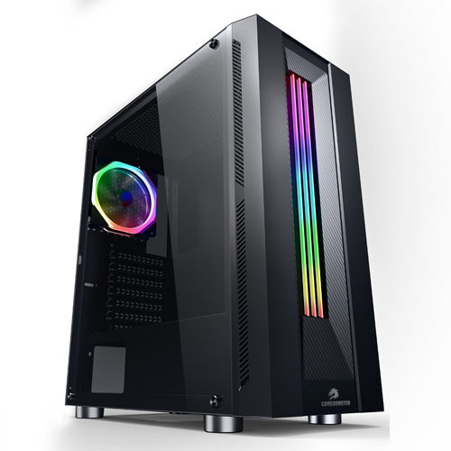 GameBooster GB-G3601B PSU Yok Siyah USB3.0 Siyah Rainbow RGB Fan Gaming Kasa