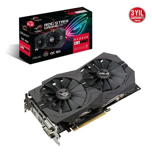 ASUS AMD 8GB RX 570 GDDR5 256 Bit ROG-STRIX-RX570-O8G-GAMING 2xDVI HDMI DP