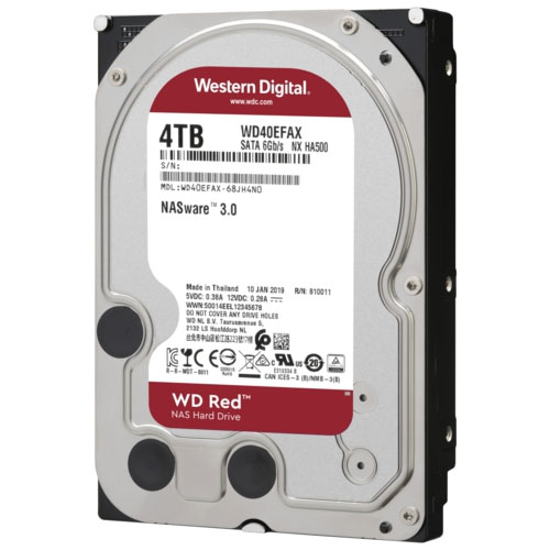 WD 3.5 RED 4TB 5400RPM 256MB SATA3 NAS HDD WD40EFAX (7/24)
