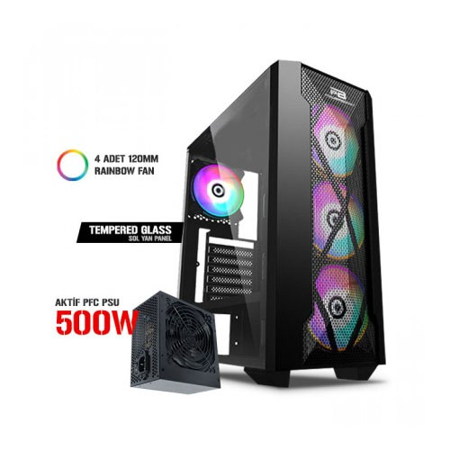 Power Boost VK-P1900B 500W . Siyah Usb 3.0 Mesh Rıng Fıxed Raınbow Fan Atx Kasa