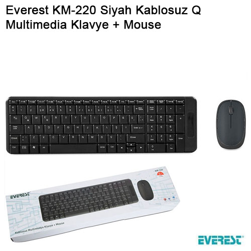 EVEREST KM-220 Q Kablosuz Siyah Multimedya Klavye/Mouse Set