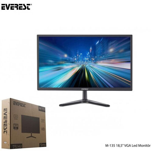 Everest 18.5 M-135 5MS 75Hz VGA Led Monitör Siyah