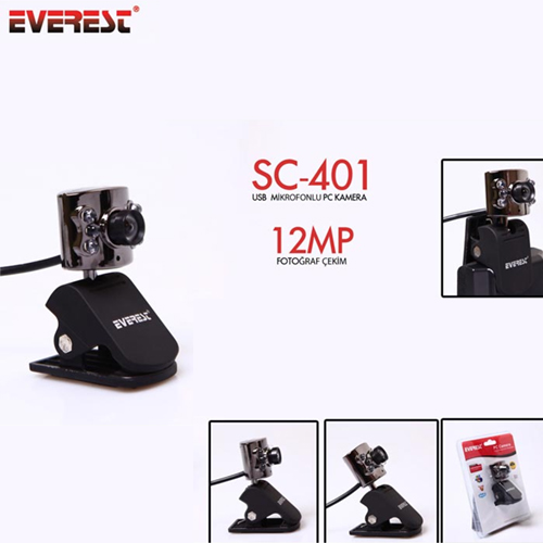 EVEREST SC-401 1.3 Mp Ledli Mikrofonlu Webcam