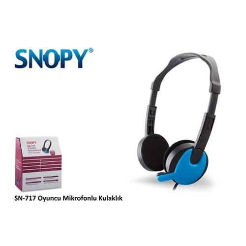 SNOPY SN-717 Mikrofonlu Kulaklık Siyah Mavi