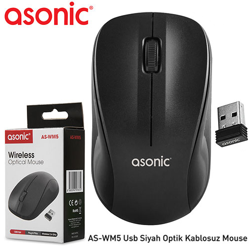 ASONİC AS-WM5 Kablosuz+USB Optic Siyah Mouse