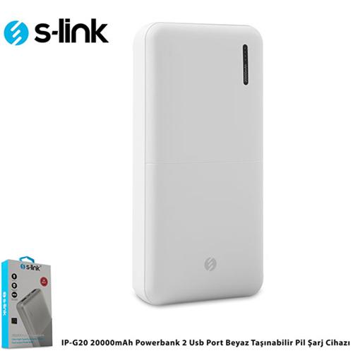 S-LINK IP-G20 20000mAh Powerbank 2 Usb Port Beyaz Taşınabilir Pil Şarj Cihazı