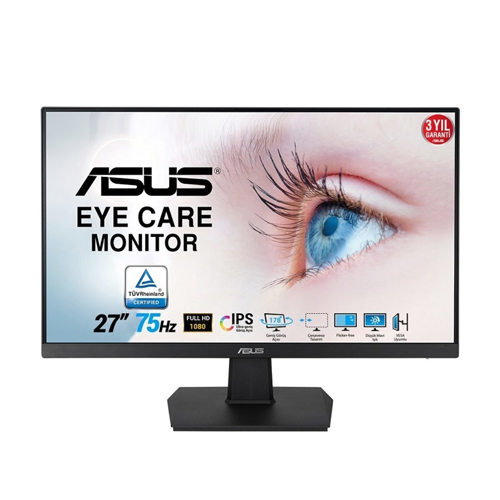 ASUS 27 VA27EHE 5Ms 75Hz M.M DSUB,DVI,HDMI IPS LED Monitör Siyah
