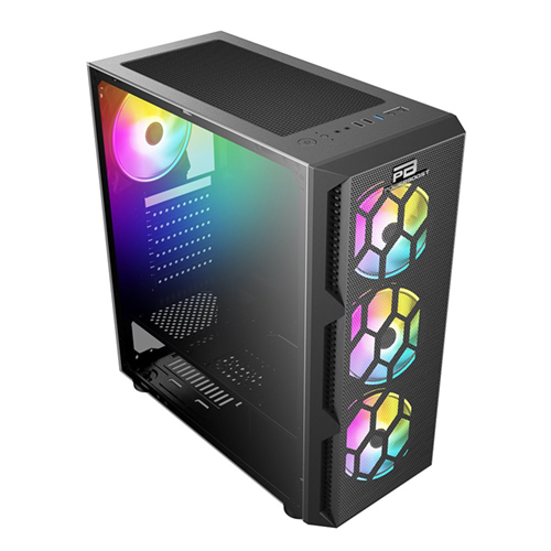 PowerBoost VK-D501M 650W 80+ USB 3.0 ATX Mesh Siyah Single Ring Rainbow fan Mid Tower Gaming Kasa