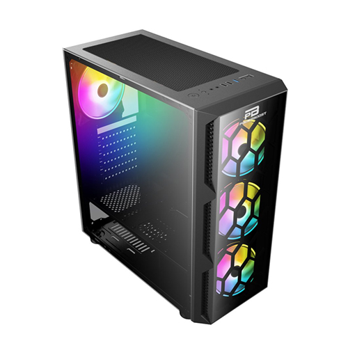 PowerBoost VK-D502T 650W 80+ USB 3.0 ATX Tempered Glass Siyah Single Ring Rainbow fan Mid Tower Gaming Kasa