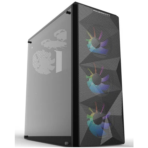 PowerBoost VK-G3090C PSU Yok Siyah USB 3.0 ATX, Mesh, RGB fan Mid Tower Gaming Kasa