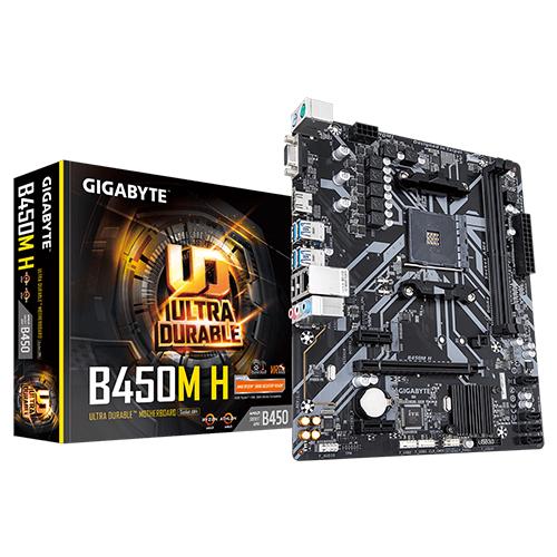 GIGABYTE AMD B450M-H B450 DDR4 M2 PCIE NVME HDMI, D-Sub GLAN AMD AM4