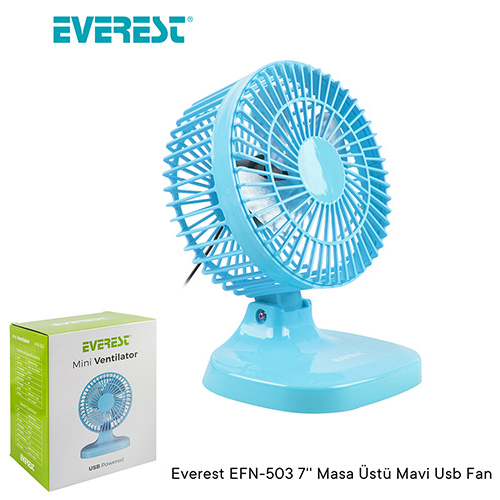 Everest EFN-503 7 Usb Plastik Masaüstü Vantilatör Mavi