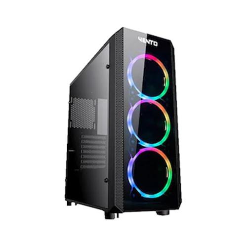 ASUS VENTO VG04F PSU Yok 3*RGB Fan + Uzakdan Kumanda Siyah Atx Gaming Kasa Temper Cam
