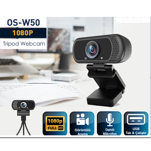 OSMART OS-W50 1080P * 2MP FULL HD USB PC Mikrofonlu Tripod Webcam