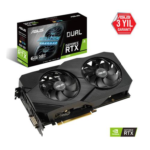 ASUS Nvidia 6GB RTX2060 DUAL GDDR6 192 Bit DUAL-RTX2060-6G-EVO 2xHDMI DVI DP