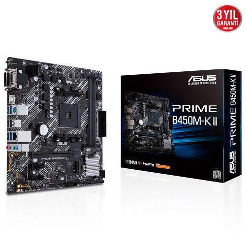 ASUS AMD PRIME B450M-K II B450 DDR4 4400(OC) DVI VGA HDMI GLAN AM4 M.2 USB 3.2 Gen1, Gen2