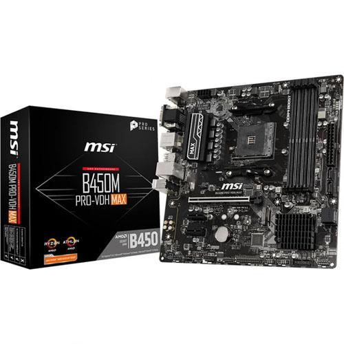 MSI AMD B450M PRO-VDH MAX B450 DDR4 3866(OC) 4xDIMM DVI VGA HDMI GLAN AM4 M.2 USB3.2 mATX