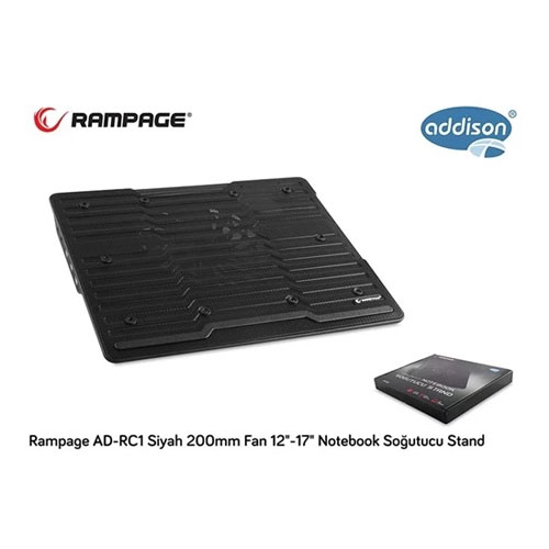 ADDISON Rampage Ad-Rc1 Siyah 200Mm Fan 12-17 Özel Dizayn Ayarlanabilir Notebook Soğutuc Stand