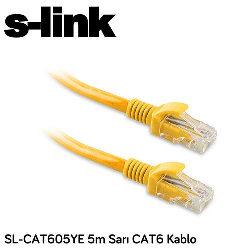 S-LINK SL-CAT605YE Cat6 Utp ( 5 Metre ) Sarı Patch Kablo