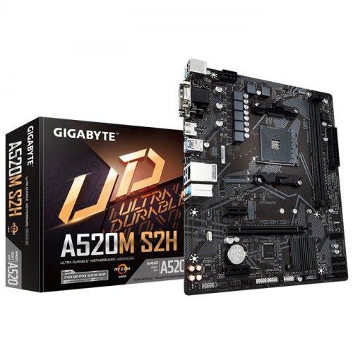 GIGABYTE AMD A520M-S2H A520 DDR4 5000(OC) MHz M2 PCIe NVME HDMI DVI PCIe 16X v4.0 AMD AM4