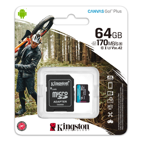 KINGSTON 64GB Canvas GO MICRO SDHC 90R/45W CL10 U3 V30 SDCG2/64GB