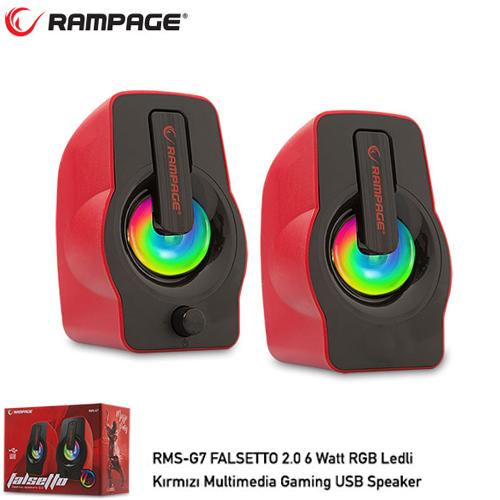 RAMPAGE RMS-G7 FALSETTO 1+1 6 W USB 5V RGB LEDLI Kırmızı Hoparlör