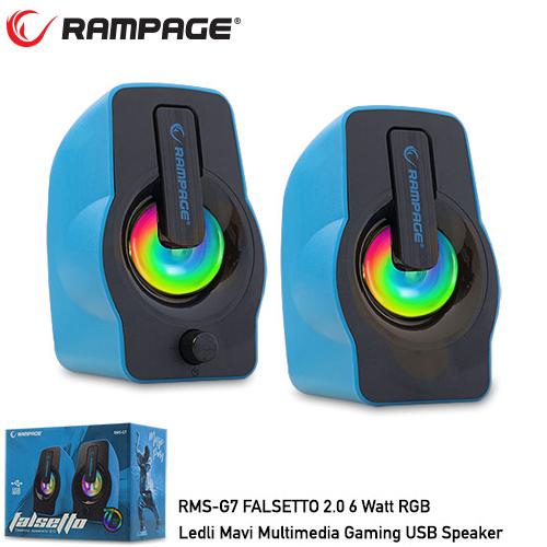 RAMPAGE RMS-G7 FALSETTO 1+1 6 W USB 5V RGB LEDLI Mavi Hoparlör