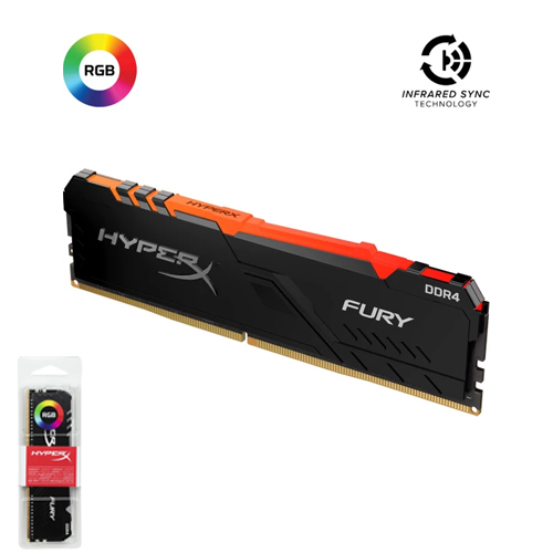 KINGSTON Hyperx Fury RGB 8GB 3200Mhz DDR4 Soğutuculu CL16 Pc Ram HX432C16FB3A/8 (1.2V)