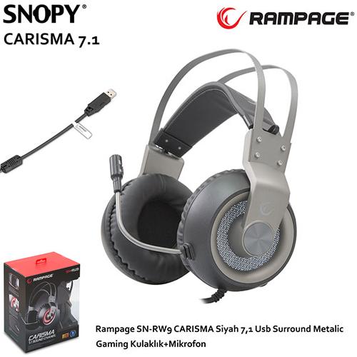 Rampage SN-RW9 CARISMA USB 7.1 Surround Metalic Gaming Mikrofonlu Kulaklık Siyah