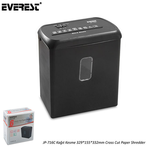 EVEREST JP-716C Kağıt Kesme 29*155*332mm Cross Cut Paper Shredder Evrak İmha Makinesi