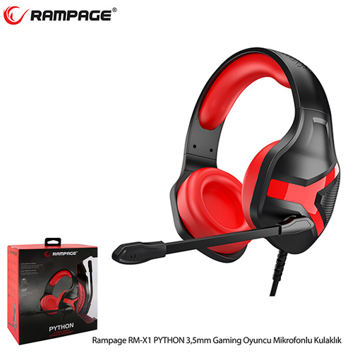 Rampage Rm-X1 Python Gaming Mikrofonlu Kulaklık Siyah/Kırmızı