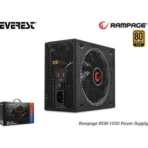 RAMPAGE RGB 1050 1050W 80+Gold Moduler Psu Mavi Işıklı 14 cm RGB led Fanlı Atx Power Supply