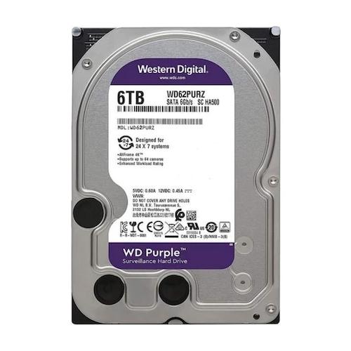 WD 3.5 PURPLE 6TB INTELLIPOWER 64MB SATA3 Güvenlik HDD WD62PURZ (7/24)