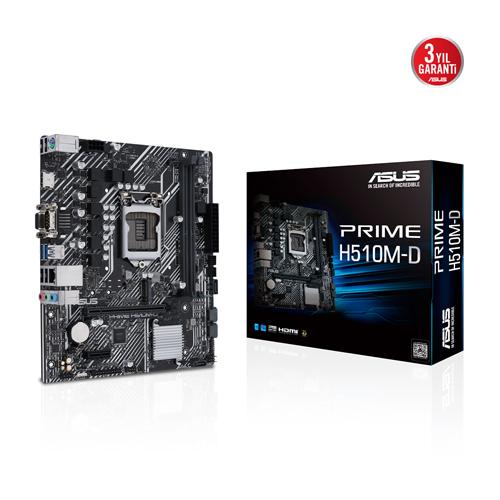 ASUS INTEL PRIME H510M-D DDR4 3200(OC) VGA HDMI GLAN M.2 1200P USB 3.2 (10-11. Nesil)