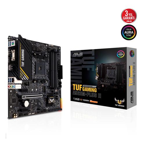 ASUS AMD TUF GAMING A520M-PLUS II DDR4 4800(O.C) HDMI VGA DP GLAN M.2 AM4 USB 3.2 RGB ATX