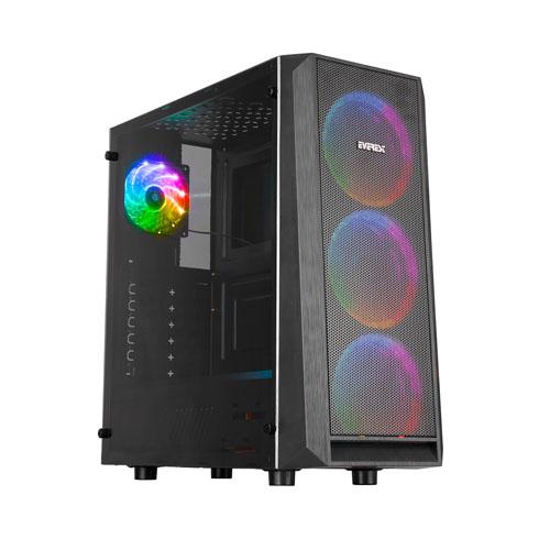 EVEREST X-MESH 500W Siyah 1 x USB 2.0, 1 x USB 3.0, 4 Adet Rainbow Fanlı Kasa