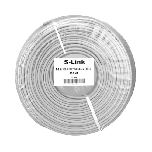 S-LINK SL-CT4100 (2X0,50) CCTV 4+1 Güvenlik Kablosu ( 100 Metre )