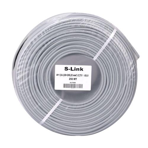 S-LINK SL-CT4250 (2X0,50) CCTV 4+1 Güvenlik Kablosu ( 250 Metre )