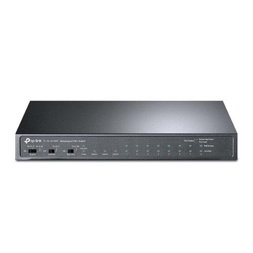 TP-LINK 11 Port TL-SL1311MP 10/100 + 8-Port PoE+ 2x Gigabit + 1x Sfp Switch (124W) (Siyah Çelik Kasalı)